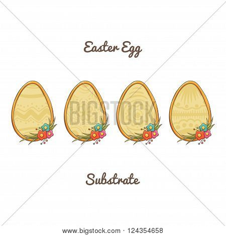 Set of four substrates in the form of Easter eggs decorated with flowers and grass. With a light pattern. It can be used as decorative items for postcards or icons. On a white background.