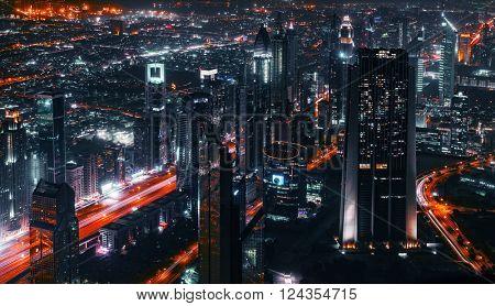 Aerial vief of Sheikh Zayed Road  in Dubai
