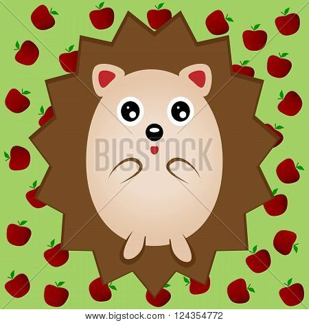 Funny brown hedgehog with big eyes. Urchin porcupine. Green background with red apples.