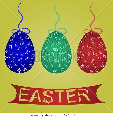 Painted blue, green, red Easter eggs hanging on a clothesline with a bow and the words on the banner Easter. Light green background.
