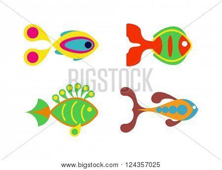 Aquatic fish wildlife aquarium underwater nature tropical seafood animal vector.