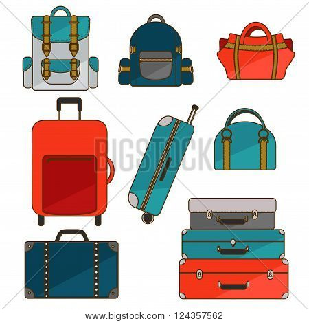 Colorful travel bag and backpack set.  Luggage icons