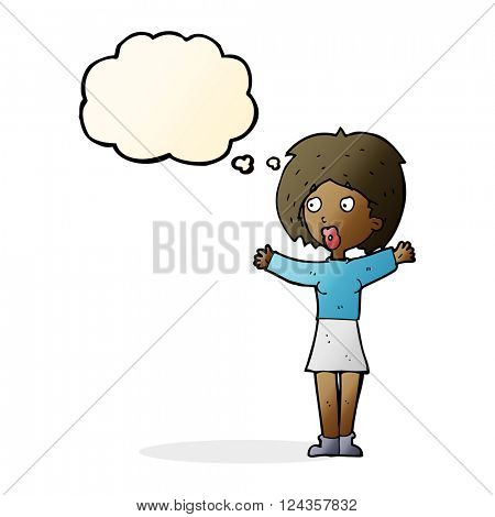 cartoon worried woman with thought bubble