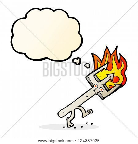 cartoon devil fork with thought bubble