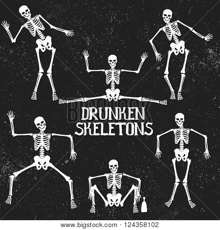 Collection of drunken skeletons in different poses. .Typography design