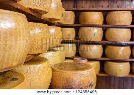 Bologna, Italy - September 19, 2015: Close up of typical Italian hard Parmesan cheese on the shelves