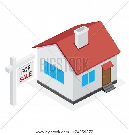 Simple house icon. Home for sale on white background.