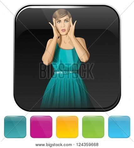 Vector button icon with shopping woman