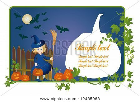Little Witch With A Pumpkin-lantern On Halloween