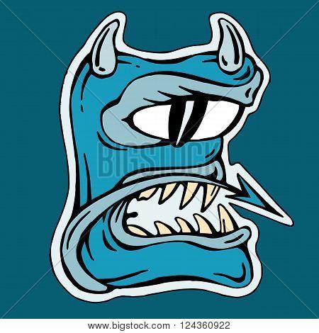 stylized blue letter E   isolated monster mutant vector illustration