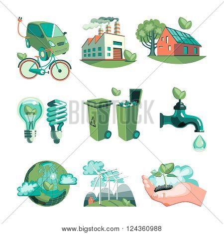 Ecology decorative icons set with earth industry solar panels clean water wind turbines garbage isolated vector illustration