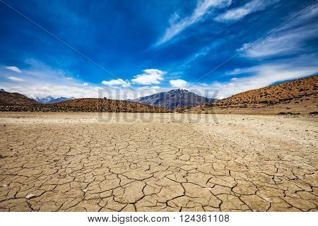 Dry Dhankar lake. Dhankar, Spiti valley, Himachal Pradesh, India