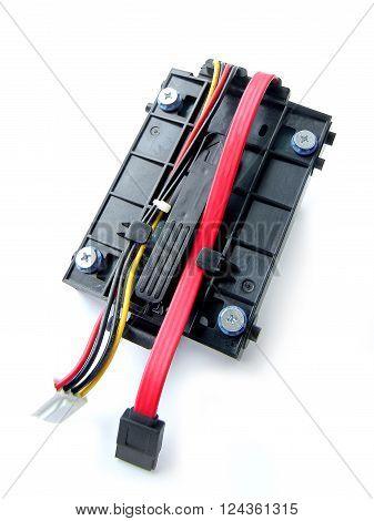 Close Up SATA Harddisk Isolated on White Background