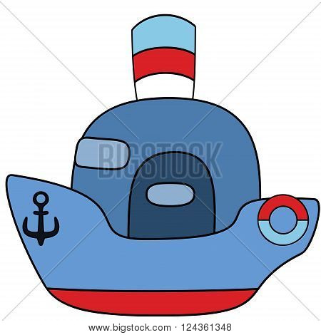 Steamship blue childlike drawing EPS8 - vector graphics.