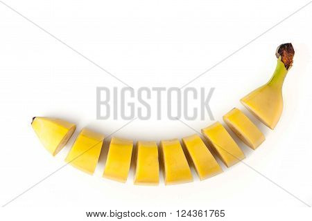 Sliced banana on the white background horizontal