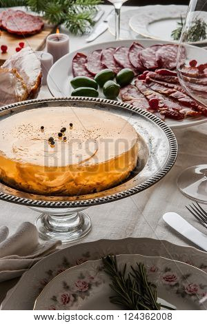Jellied meat on the celebratory table vertical