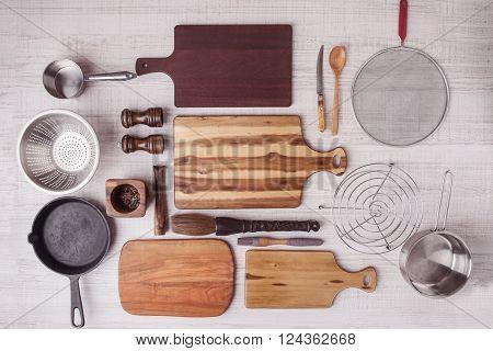 Kitchen equipment set top view board wooden