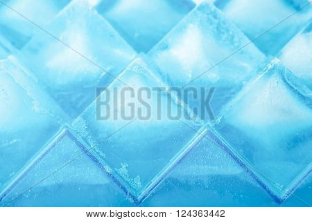 Ice cubes background close-up texture, horizontal, top, view