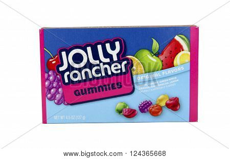 SPENCER WISCONSIN - April4 2016: Box of Joly Rancher Gummies Candy Jolly Rancher is a brand of sweet sour candies founded in 1949