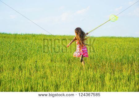 Girl with a butterfly net catching butterflies.