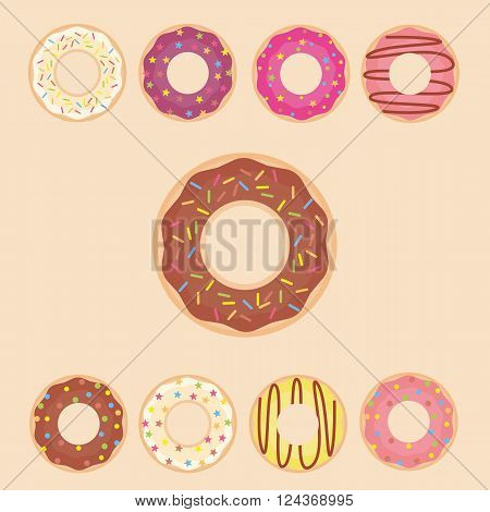 Donut set icon. Vector illustration in a flat style. Mega collection of sweet donuts isolated