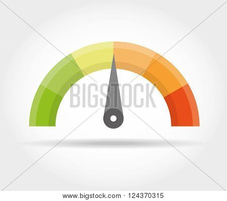 Speedometer icon. Colorful Info-graphic vector illustration isolated