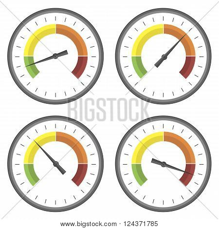 Set of Manometer Icons on White Background. Different Gauge Readinngs.