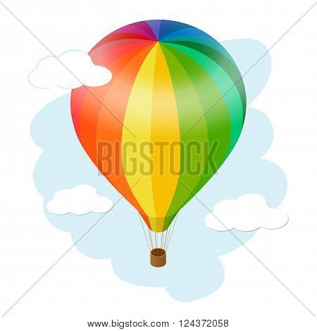 Hot air balloon icon. Flat 3d vector isometric illustration hot air balloon