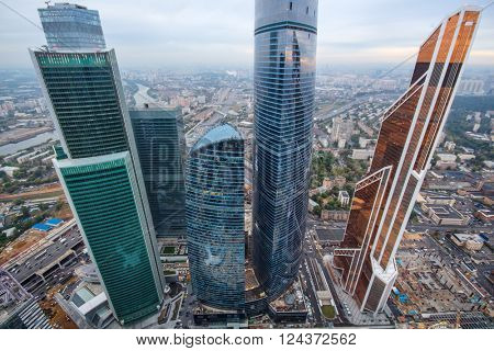 MOSCOW, RUSSIA - SEP 3, 2014: Futuristic Moscow International Business Center at cloudy day. Years of construction of complex - 1995-2018