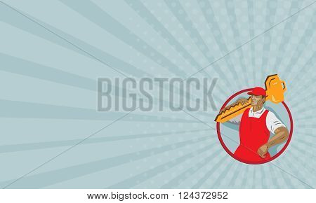 Business card showing WPA style illustration of a locksmith carrying key on shoulder looking to the side set inside circle on isolated background.