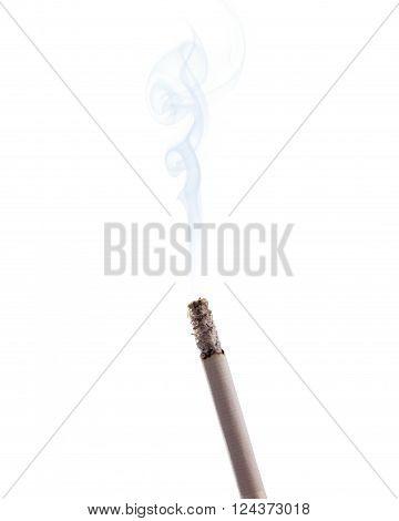 Burning cigarette with smoke isolated on white background