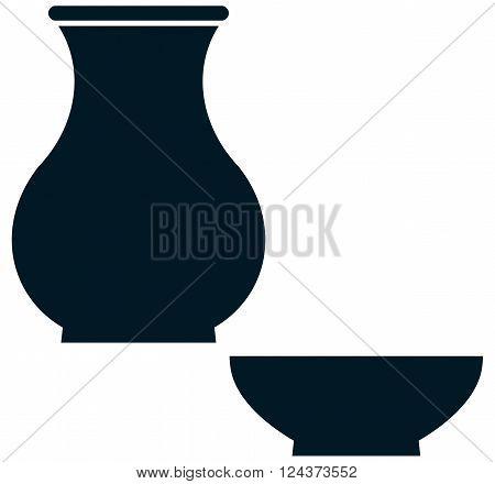 Ceramic crockery pottery dishes tableware illustration isolated