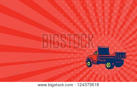 Business card showing illustration of a flatbed truck viewed from rear set on isolated white background done in retro woodcut style.