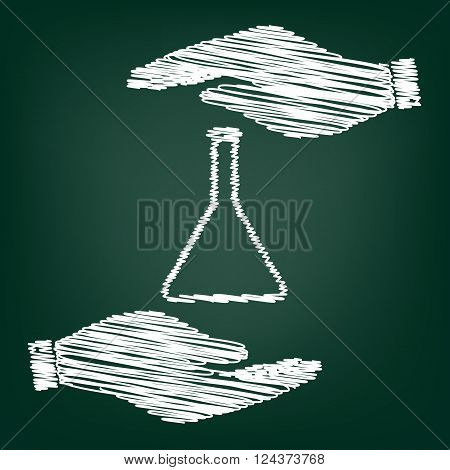Conical Flask sign. Flat style icon with scribble effect