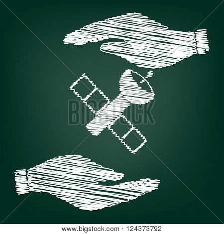 Satellite sign. Flat style icon with scribble effect
