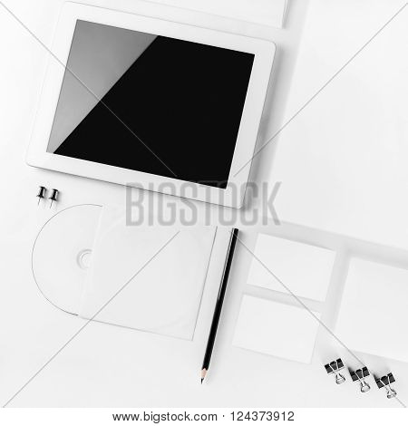 Blank corporate identity template. Blank stationery mockup for branding identity for designers. Top view.
