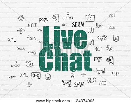 Web design concept: Live Chat on wall background
