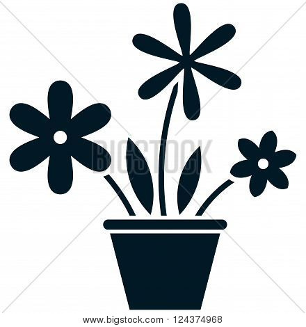 Flowerpot with flowers simple vector illustration isolated