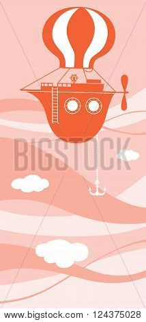 Vector illustration of the flying ship. The boat is soaring in the sky like a balloon.