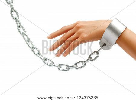 Woman's hand in chains isolated on white background. Close up concept against violence