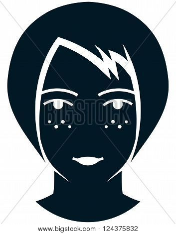 Woman face with freckles sunspots female head illustration isolated on white