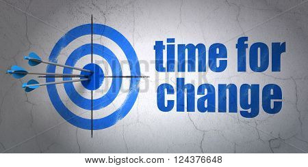 Time concept: target and Time for Change on wall background