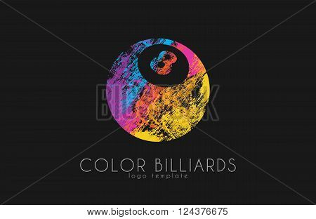 billiard ball logo. Billiard logo. Color ball logo.