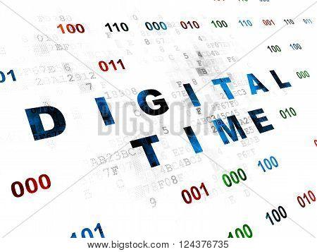 Time concept: Digital Time on Digital background
