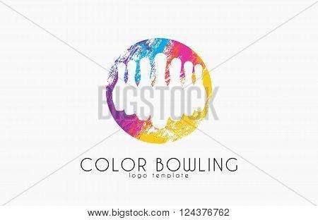 Bowling game logo. Color bowling. Sport logo
