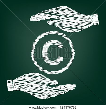 Copyright sign. Flat style icon with scribble effect