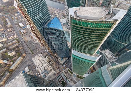 MOSCOW, RUSSIA - OCT 31, 2015: Modern skyscrapers of Moscow City business complex. Moscow International Business Center Moscow City includes 20 futuristic buildings