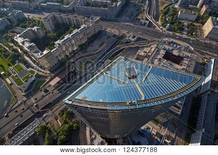 MOSCOW, RUSSIA - JUL 8, 2014: International Centre (Mirax Plaza) - multi-functional business complex is being built in 2006 - 2017