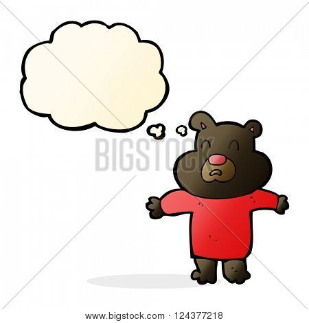 cartoon unhappy black bear  with thought bubble