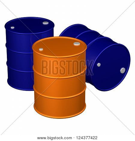 Barrels, isolated on white background.  3D render.
